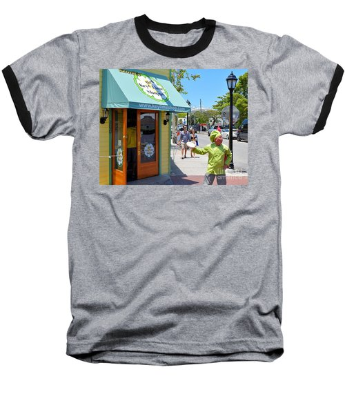 Key Lime Pie Man In Key West Baseball T-Shirt by Janette Boyd