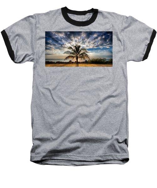 Key West Florida Lone Palm Tree  Baseball T-Shirt