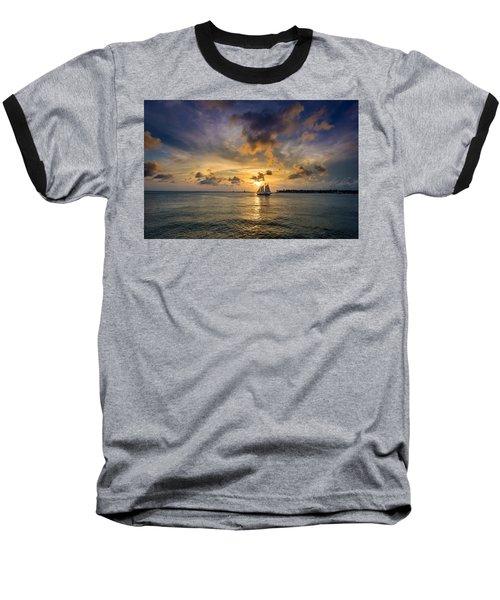 Key West Florida Sunset Mallory Square Baseball T-Shirt