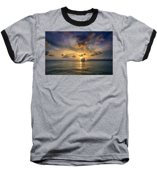Key West Florida Sunset Mallory Square Baseball T-Shirt