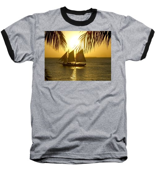 Key West Sunset Baseball T-Shirt by Joan  Minchak