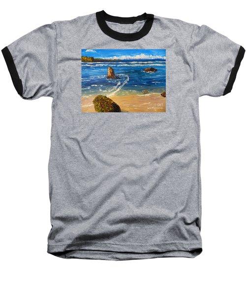 Baseball T-Shirt featuring the painting Kiama Beach by Pamela  Meredith