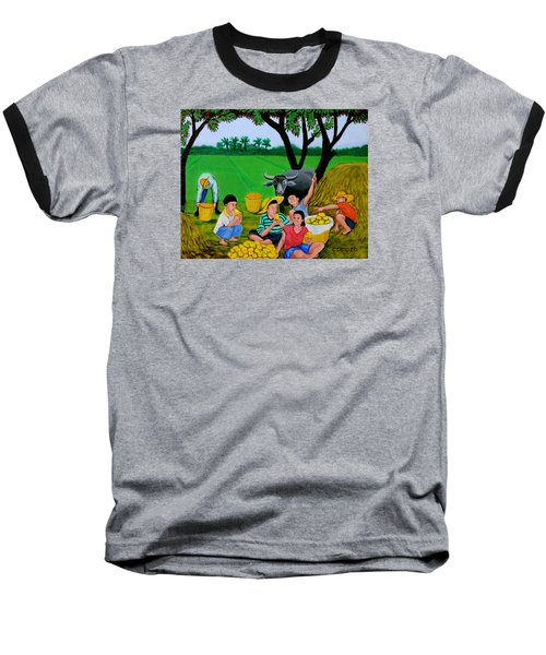 Baseball T-Shirt featuring the painting Kids Eating Mangoes by Cyril Maza