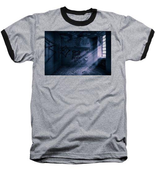 Baseball T-Shirt featuring the photograph Killer Behind You - Abandoned Hospital Asylum by Gary Heller