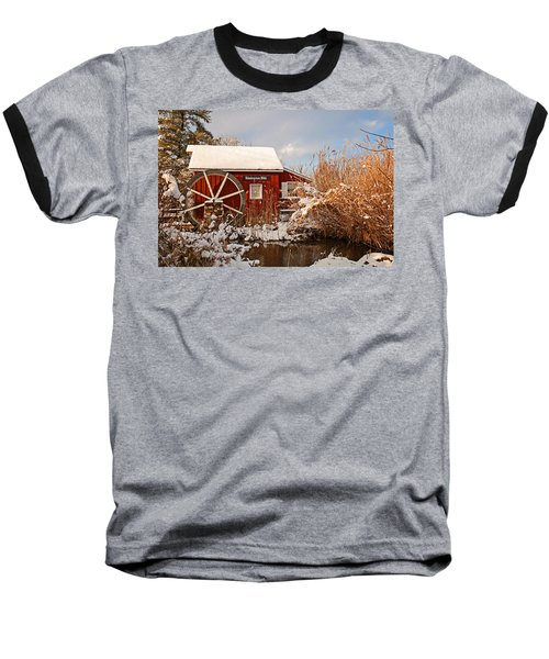 Kimberton Mill After Snow Baseball T-Shirt by Michael Porchik
