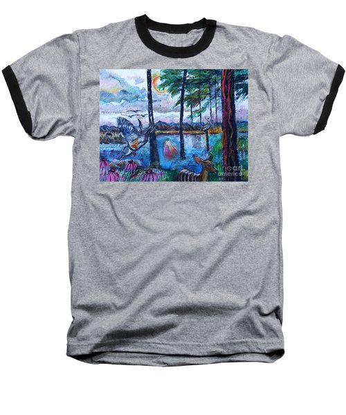 Kingfisher And Deer In Landscape Baseball T-Shirt
