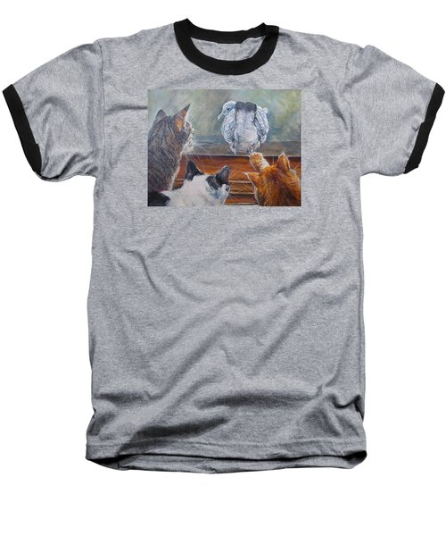 Baseball T-Shirt featuring the painting Kiss My Assssssss by Donna Tucker