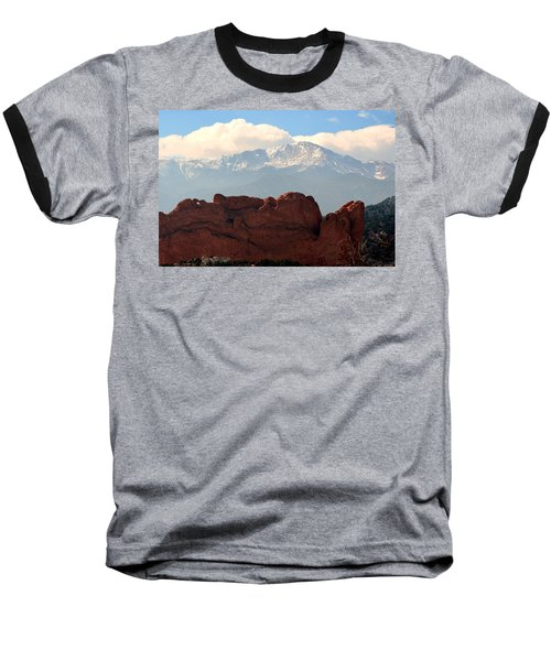 Kissing Camels Against Pikes Peak Baseball T-Shirt by Clarice  Lakota