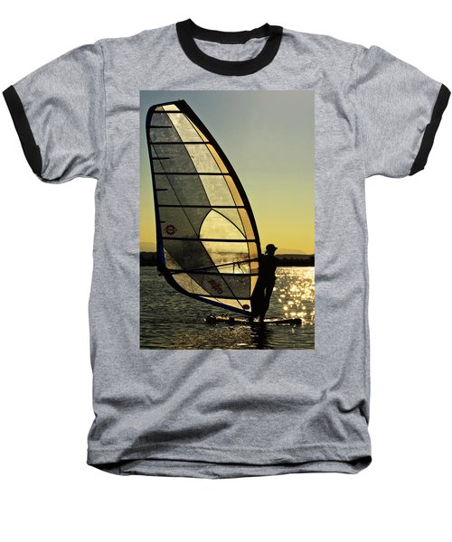 Baseball T-Shirt featuring the photograph Kiteboarder Sunset by Sonya Lang