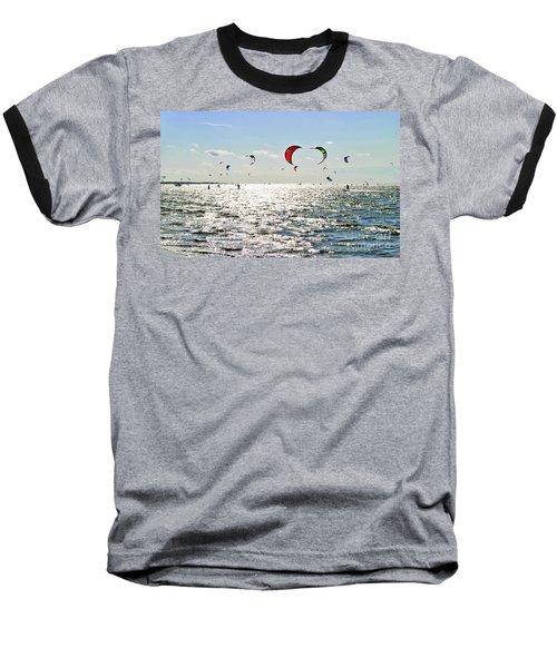Kitesurfing In The Sun Baseball T-Shirt by Maja Sokolowska