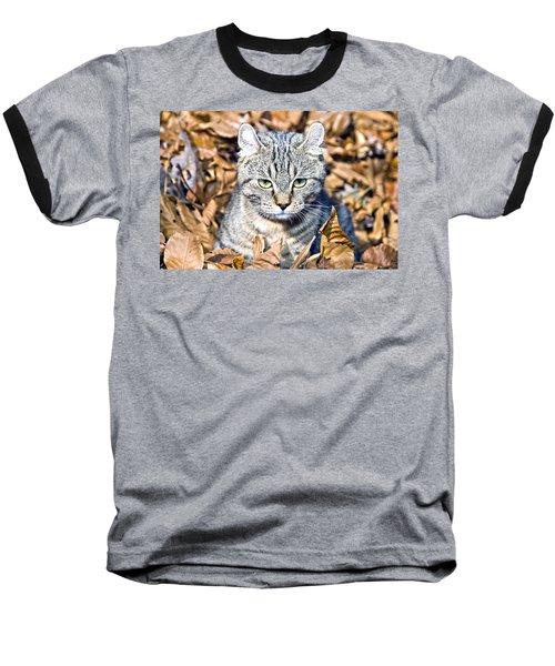 Baseball T-Shirt featuring the photograph Kitten In Leaves by Susan Leggett