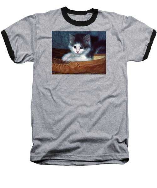 Baseball T-Shirt featuring the photograph Kitten In Slipper by Sally Weigand