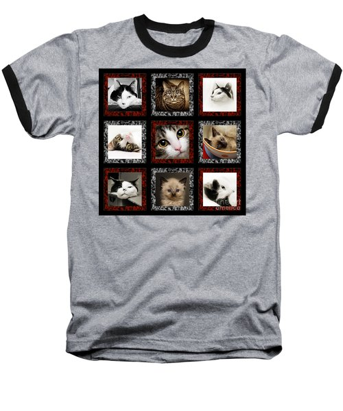 Kitty Cat Tic Tac Toe Baseball T-Shirt