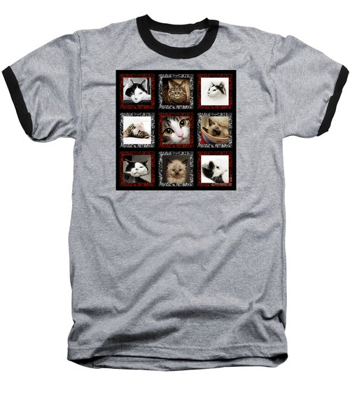 Kitty Cat Tic Tac Toe Baseball T-Shirt