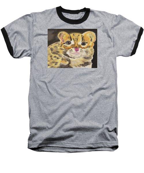 Peek A Boo Kitty Baseball T-Shirt by Meryl Goudey