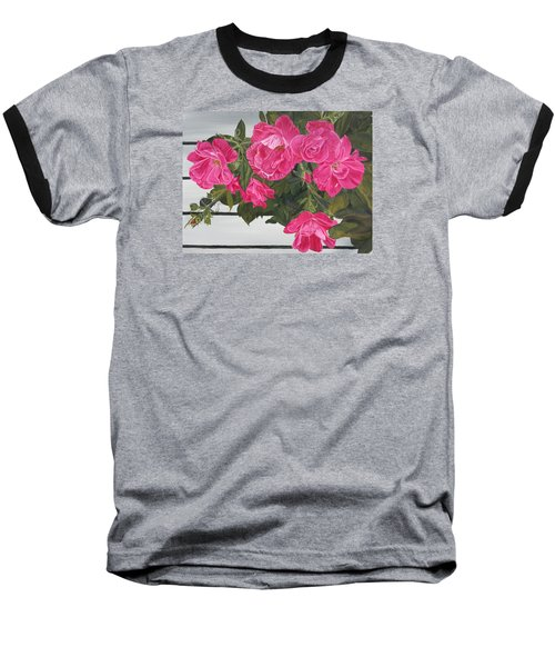 Baseball T-Shirt featuring the painting Knock Out Roses by Wendy Shoults