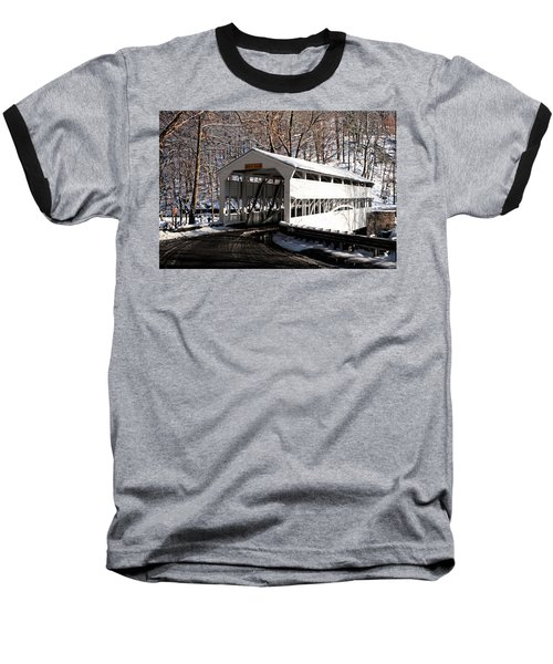 Knox Bridge In The Snow Baseball T-Shirt by Michael Porchik