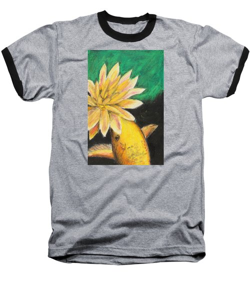 Baseball T-Shirt featuring the painting Koi And The Lotus Flower by Jeanne Fischer