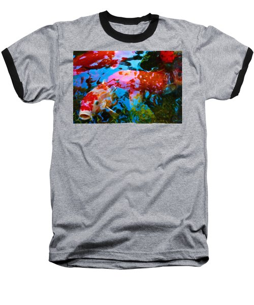 Baseball T-Shirt featuring the painting Koi Fish by Joan Reese