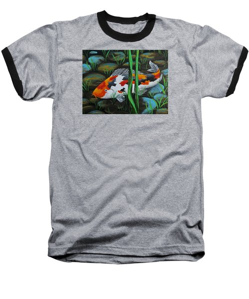 Koi Fish Baseball T-Shirt by Katherine Young-Beck