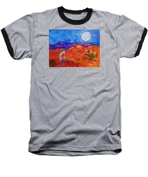 Kokopelli Playing To The Moon Baseball T-Shirt
