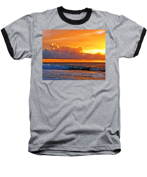 Baseball T-Shirt featuring the photograph Kona Golden Sunset by David Lawson