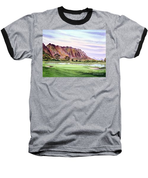 Baseball T-Shirt featuring the painting Koolau Golf Course Hawaii 16th Hole by Bill Holkham
