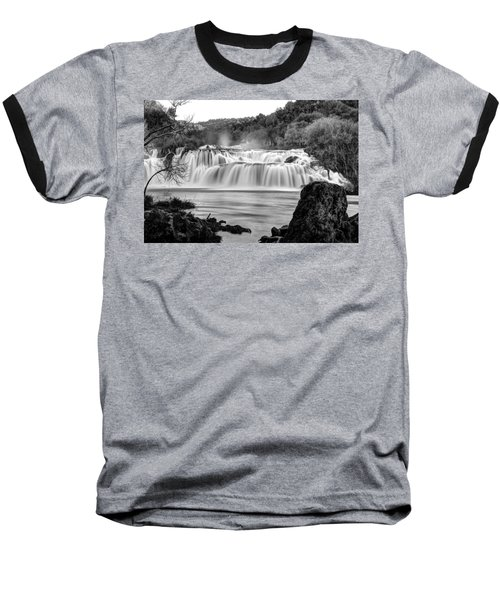 Krka Waterfalls Bw Baseball T-Shirt