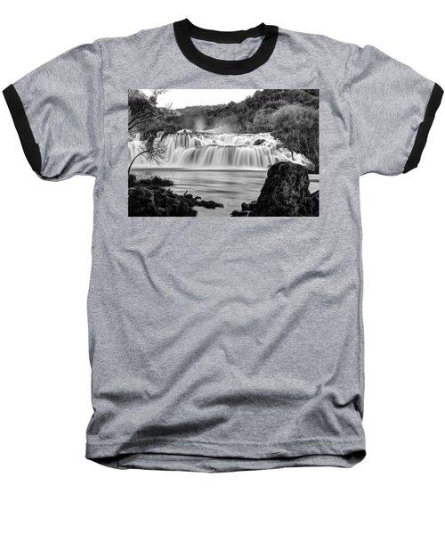 Krka Waterfalls Bw Baseball T-Shirt