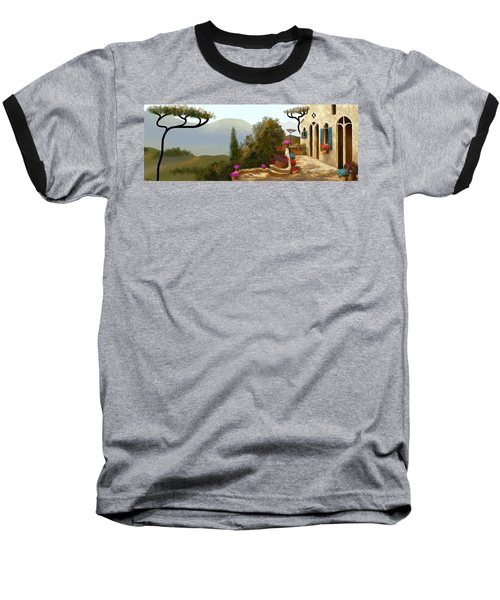 Baseball T-Shirt featuring the painting La Bella Terrazza by Larry Cirigliano