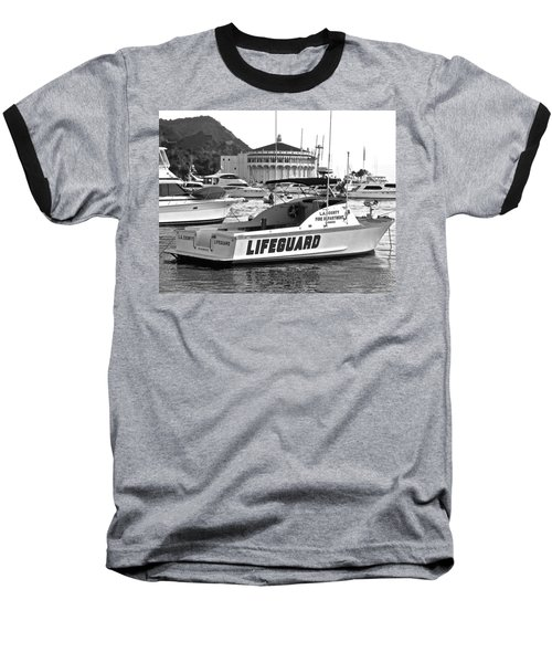 L A County Lifeguard Boat B W Baseball T-Shirt