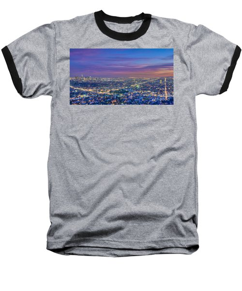 La Fiery Sunset Cityscape Skyline Baseball T-Shirt
