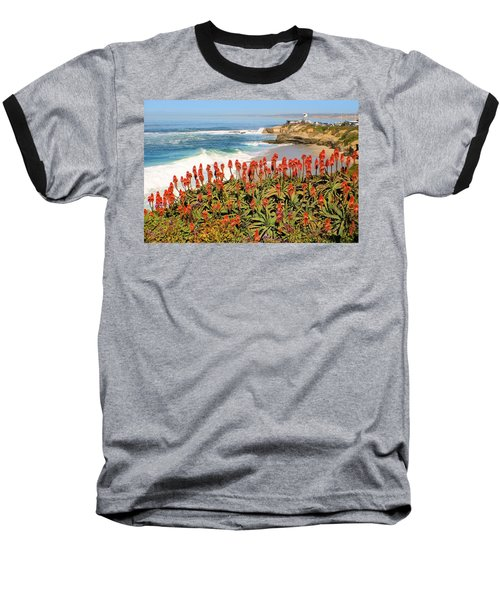 La Jolla Coast With Flowers Blooming Baseball T-Shirt
