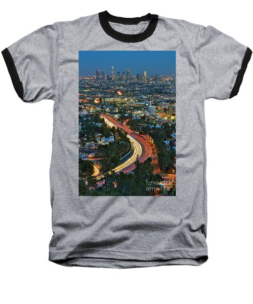 La Skyline Night Magic Hour Dusk Streaking Tail Lights Freeway Baseball T-Shirt