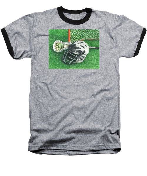 Baseball T-Shirt featuring the drawing Lacrosse by Troy Levesque