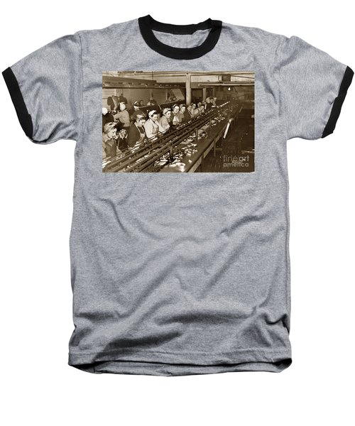 Ladies Packing Sardines In One Pound Oval Cans In One Of The Over 20 Cannery's Circa 1948 Baseball T-Shirt