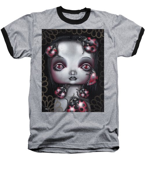 Lady Bug Girl Baseball T-Shirt by Abril Andrade Griffith