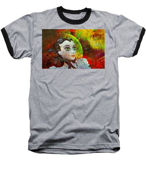 Baseball T-Shirt featuring the mixed media Lady In Red by Ally  White