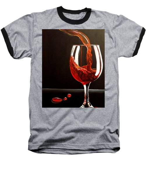 Baseball T-Shirt featuring the painting Lady In Red by Darren Robinson
