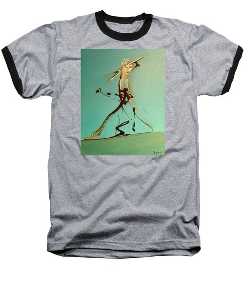 Lady In The Hat Baseball T-Shirt by Kicking Bear  Productions
