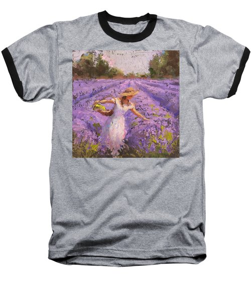 Woman Picking Lavender In A Field In A White Dress - Lady Lavender - Plein Air Painting Baseball T-Shirt