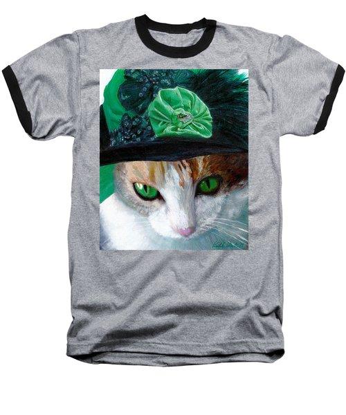 Lady Little Girl Cats In Hats Baseball T-Shirt by Michele Avanti