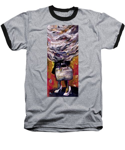 Lady With Suitcase And Storm Cloud Baseball T-Shirt