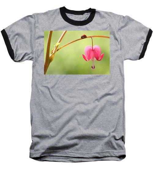 Ladybug And Bleeding Heart Flower Baseball T-Shirt