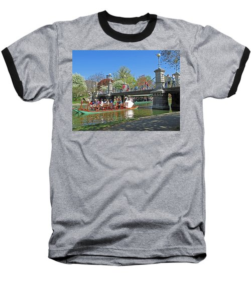 Baseball T-Shirt featuring the photograph Lagoon Bridge And Swan Boat by Barbara McDevitt