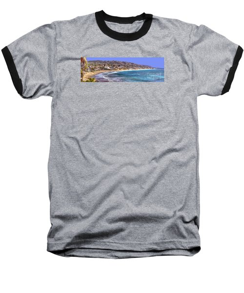Laguna Beach Coast Panoramic Baseball T-Shirt