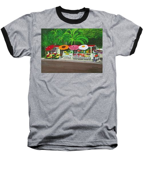 Laguna Beach Flower Stand Baseball T-Shirt by Mike Robles