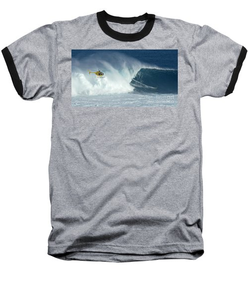 Laird Hamilton Going Left At Jaws Baseball T-Shirt by Bob Christopher