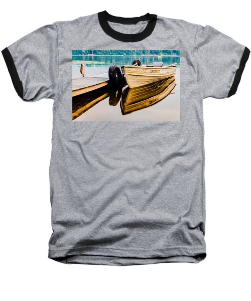 Lake Boat Reflection Baseball T-Shirt