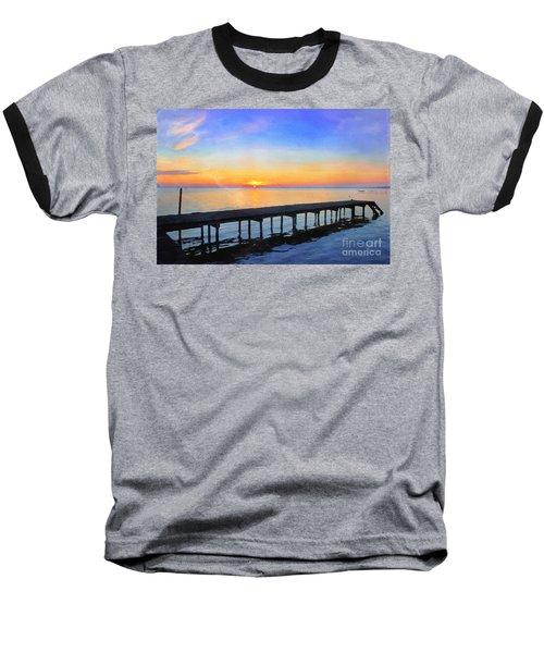 Lake Sunrise - Watercolor Baseball T-Shirt